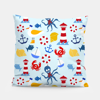 Miniatur Sea creatures pattern Pillow, Live Heroes