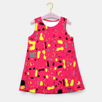 Imagen en miniatura de Lovely Pink with black and yellow spots, fresh abstract design Girl's summer dress, Live Heroes