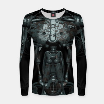 Thumbnail image of Rusty Cyborg Robot Body Design Frauen sweatshirt, Live Heroes
