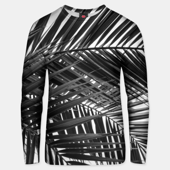 Miniatur Tropical Palm Leaves - Black and White Unisex sweater, Live Heroes