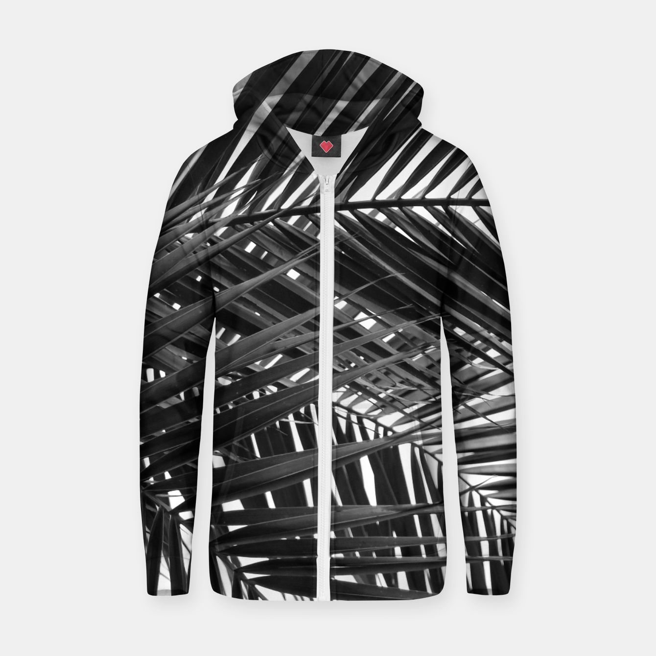 Foto Tropical Palm Leaves - Black and White Zip up hoodie - Live Heroes