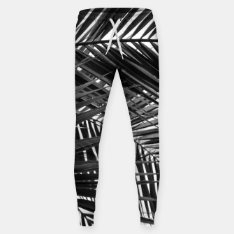 Miniatur Tropical Palm Leaves - Black and White Sweatpants, Live Heroes