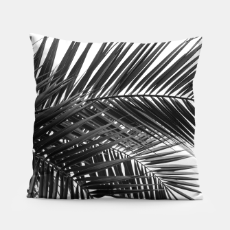 Thumbnail image of Tropical Palm Leaves - Black and White Pillow, Live Heroes