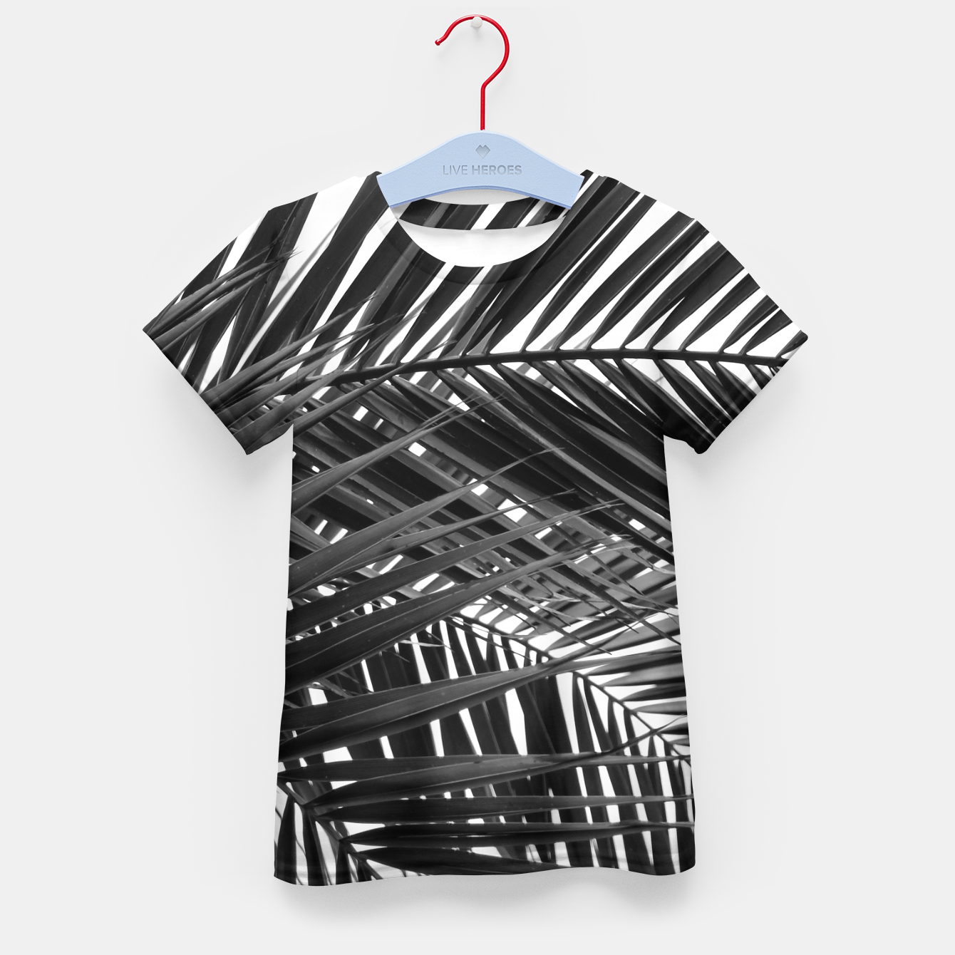 Foto Tropical Palm Leaves - Black and White Kid's t-shirt - Live Heroes