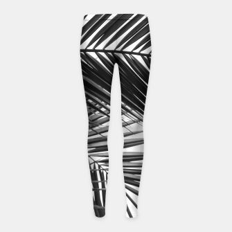 Miniatur Tropical Palm Leaves - Black and White Girl's leggings, Live Heroes