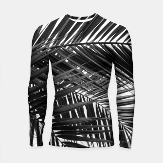 Miniatur Tropical Palm Leaves - Black and White Longsleeve rashguard , Live Heroes
