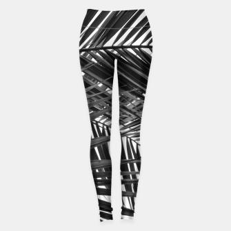 Miniatur Tropical Palm Leaves - Black and White Leggings, Live Heroes