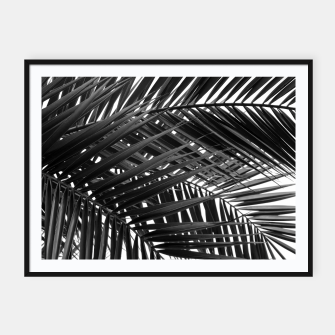 Miniatur Tropical Palm Leaves - Black and White Framed poster, Live Heroes