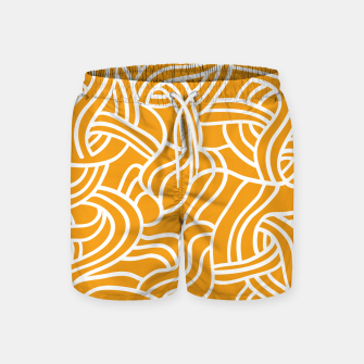 Thumbnail image of Mustard yellow line pattern Swim Shorts, Live Heroes