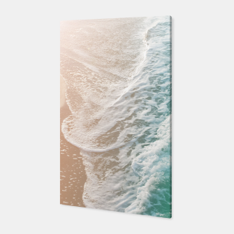 Thumbnail image of Soft Emerald Beige Ocean Dream Waves #1 #water #decor #art Canvas, Live Heroes