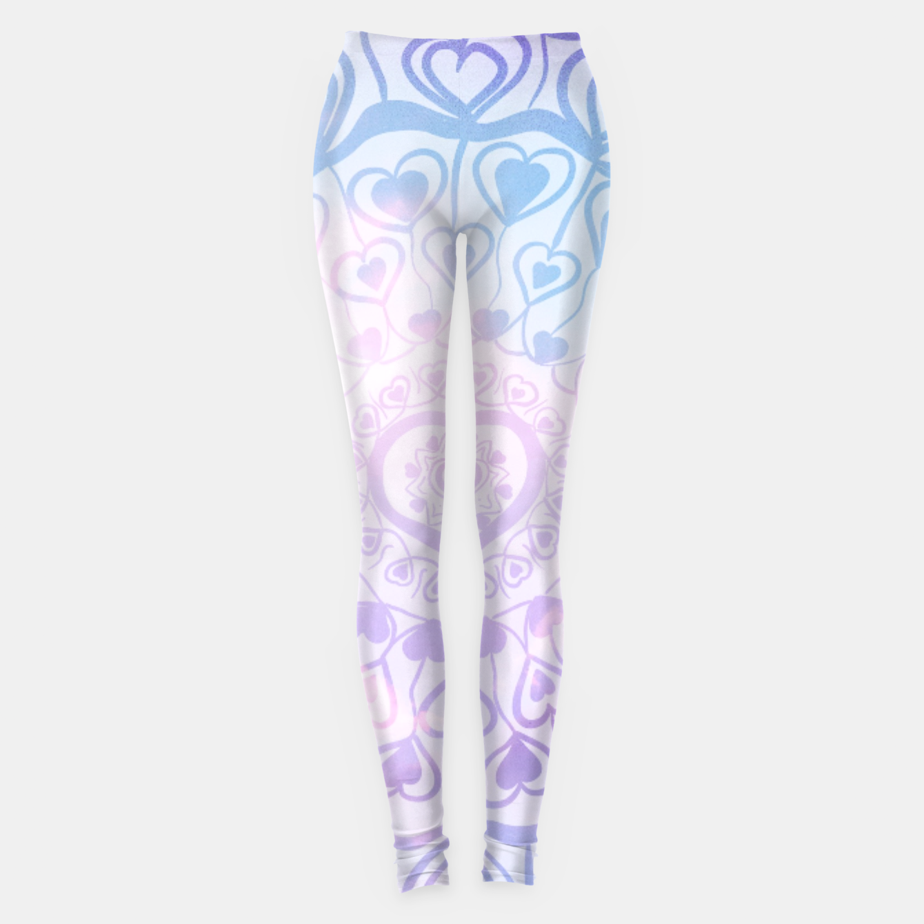 Image of Heart Mandala on Unicorn Pastel Clouds #1 #decor #art Leggings - Live Heroes