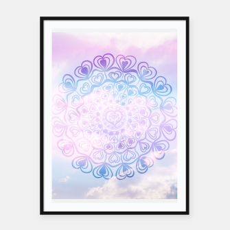 Heart Mandala on Unicorn Pastel Clouds #1 #decor #art Plakat mit rahmen thumbnail image