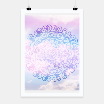 Heart Mandala on Unicorn Pastel Clouds #1 #decor #art Plakat thumbnail image