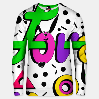 Thumbnail image of Abstract graffiti mix love shapes geometrical modern style Unisex sweater, Live Heroes