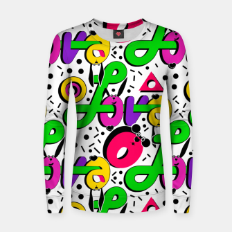 Abstract graffiti style modern love shapes geometrical print Women sweater thumbnail image