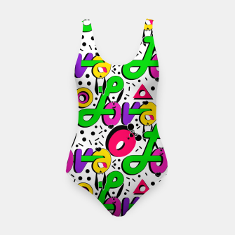 Abstract graffiti style modern love shapes geometrical print Swimsuit thumbnail image