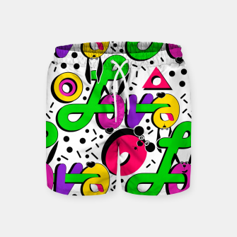 Abstract graffiti style modern love shapes geometrical print Swim Shorts thumbnail image