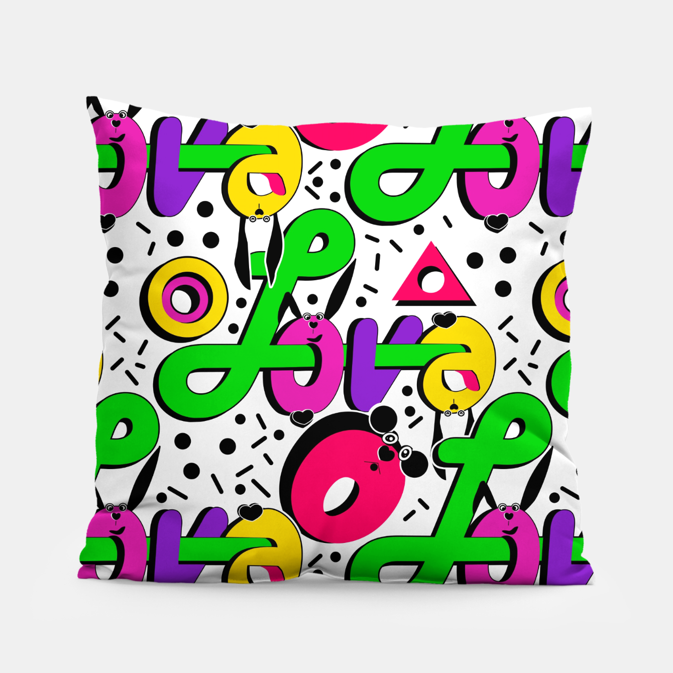 Image of Abstract graffiti style modern love shapes geometrical print Pillow - Live Heroes