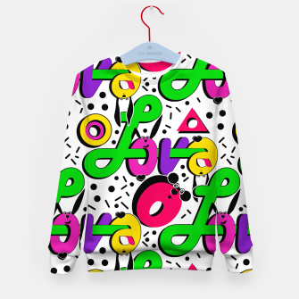 Abstract graffiti style modern love shapes geometrical print Kid's sweater thumbnail image