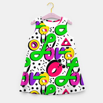 Abstract graffiti style modern love shapes geometrical print Girl's summer dress thumbnail image