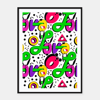 Abstract graffiti style modern love shapes geometrical print Framed poster thumbnail image