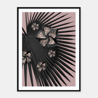 Thumbnail image of Fan Palm Floral Glitter Glam #3 #tropical #decor #art Plakat mit rahmen, Live Heroes