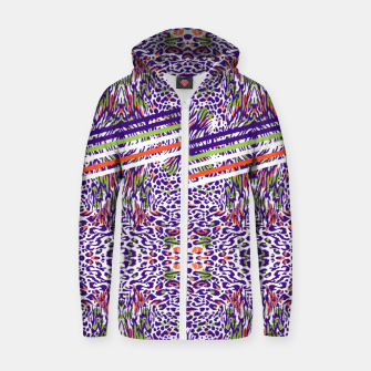 Abstract animal print colorful Sudadera con capucha y cremallera  thumbnail image