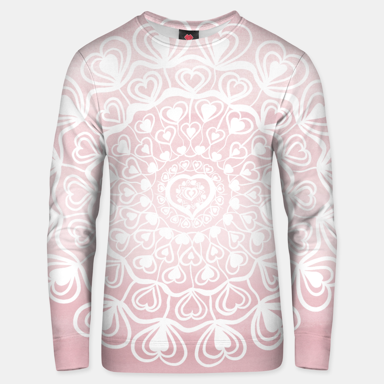 Image of Heart Mandala on Blush Pink Watercolor #1 #decor #art Unisex sweatshirt - Live Heroes