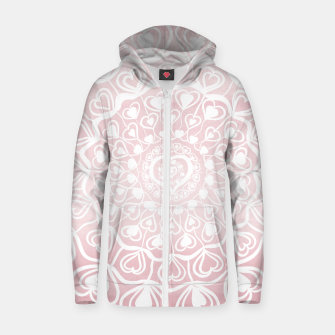 Thumbnail image of Heart Mandala on Blush Pink Watercolor #1 #decor #art Reißverschluss kapuzenpullover, Live Heroes