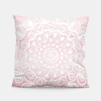 Heart Mandala on Blush Pink Watercolor #1 #decor #art Kissen thumbnail image