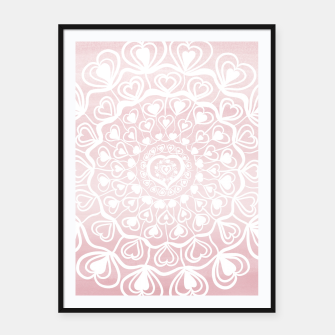 Heart Mandala on Blush Pink Watercolor #1 #decor #art Plakat mit rahmen thumbnail image