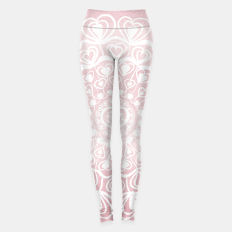 Heart Mandala on Blush Pink Watercolor #1 #decor #art Leggings thumbnail image