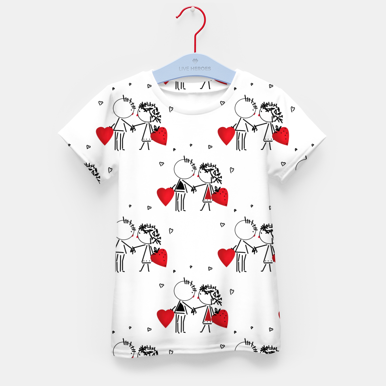 Image of Love Girl Boy Valentines Day feel relations cartoon fun Kid's t-shirt - Live Heroes