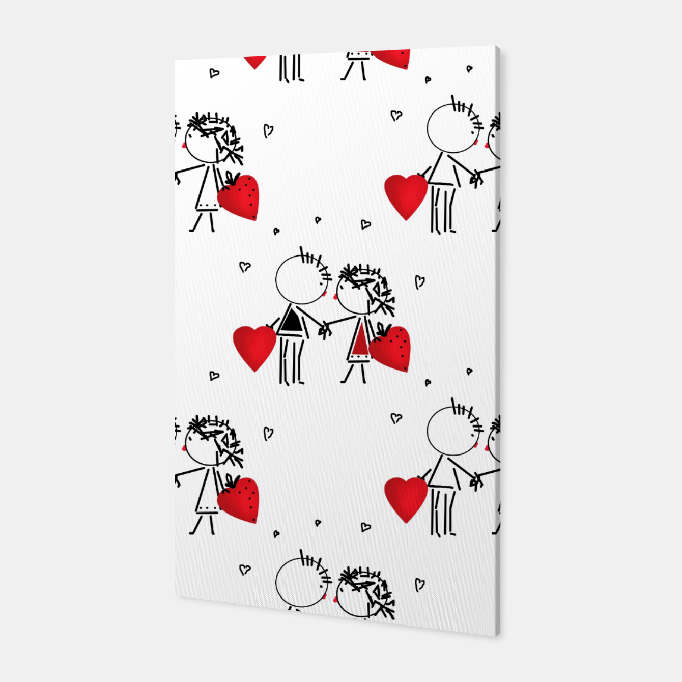 Image of Love Girl Boy Valentines Day feel relations cartoon fun Canvas - Live Heroes