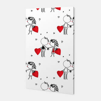 Thumbnail image of Love Girl Boy Valentines Day feel relations cartoon fun Canvas, Live Heroes