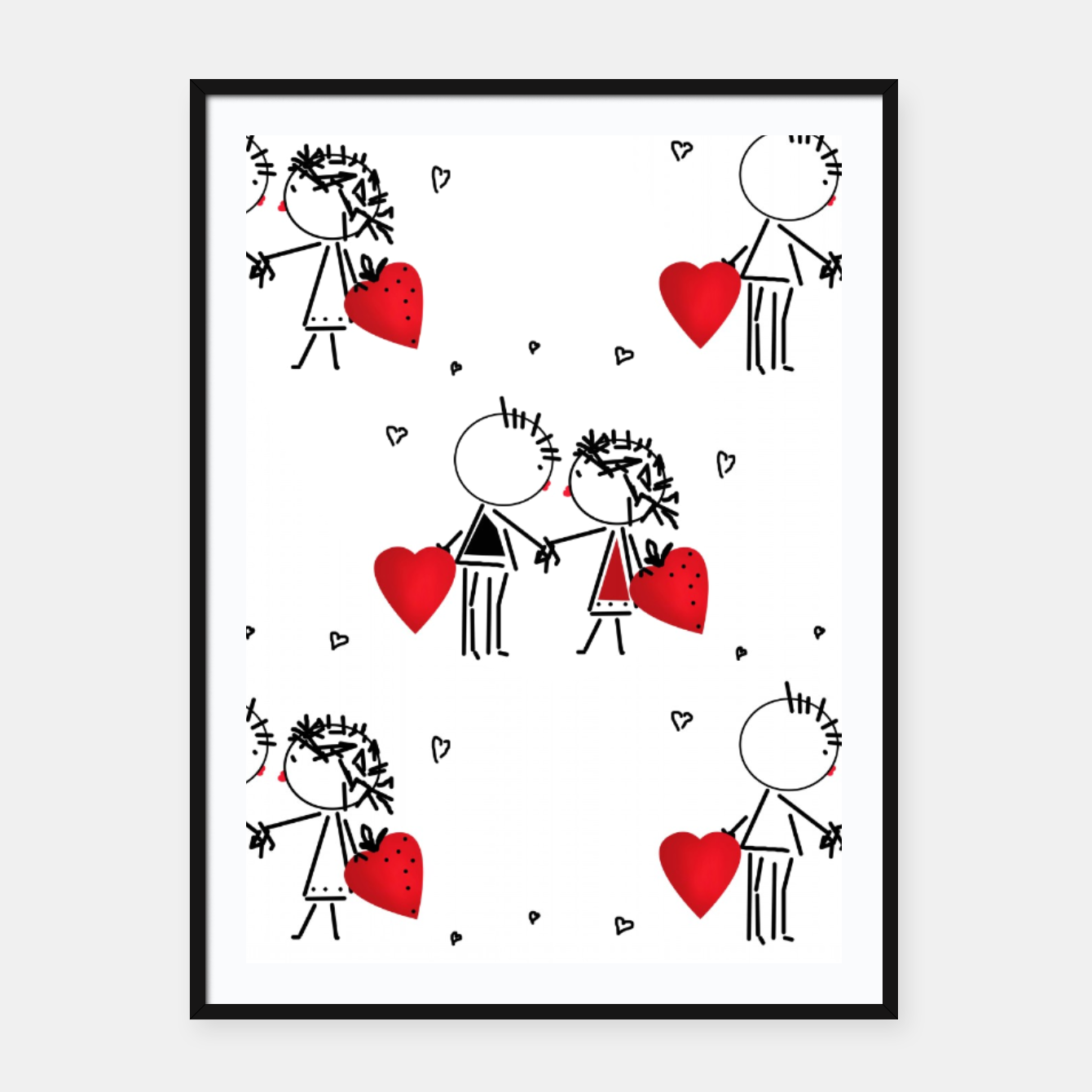 Image of Love Girl Boy Valentines Day feel relations cartoon fun Framed poster - Live Heroes