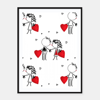 Thumbnail image of Love Girl Boy Valentines Day feel relations cartoon fun Framed poster, Live Heroes