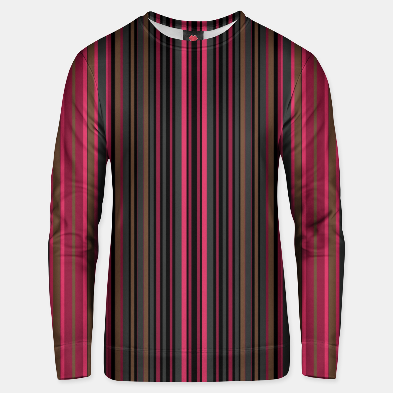 Image of Multi-colored striped pattern magenta black brown lined patches Unisex sweater - Live Heroes