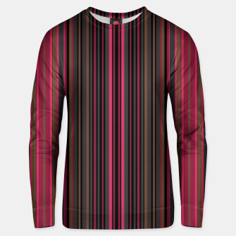 Thumbnail image of Multi-colored striped pattern magenta black brown lined patches Unisex sweater, Live Heroes