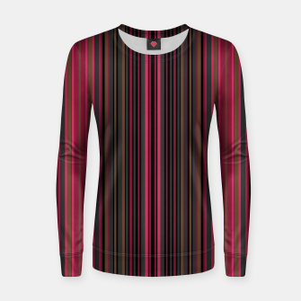 Thumbnail image of Multi-colored striped pattern magenta black brown lined patches Women sweater, Live Heroes