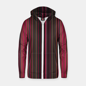 Thumbnail image of Multi-colored striped pattern magenta black brown lined patches Zip up hoodie, Live Heroes