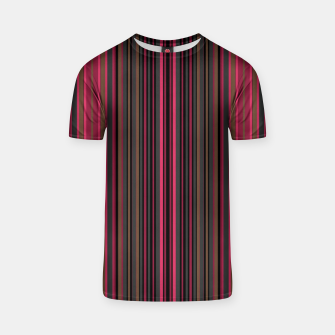 Thumbnail image of Multi-colored striped pattern magenta black brown lined patches T-shirt, Live Heroes