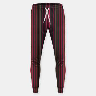 Thumbnail image of Multi-colored striped pattern magenta black brown lined patches Sweatpants, Live Heroes