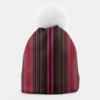 Thumbnail image of Multi-colored striped pattern magenta black brown lined patches Beanie, Live Heroes