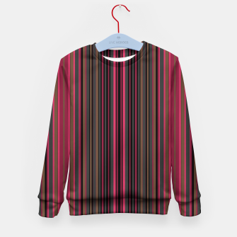Thumbnail image of Multi-colored striped pattern magenta black brown lined patches Kid's sweater, Live Heroes