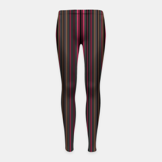 Thumbnail image of Multi-colored striped pattern magenta black brown lined patches Girl's leggings, Live Heroes