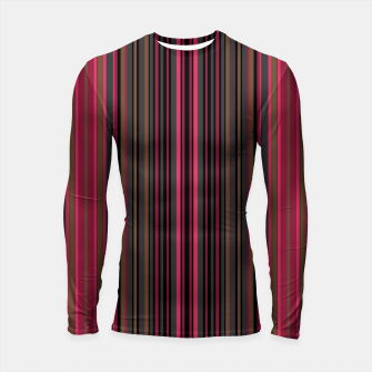 Thumbnail image of Multi-colored striped pattern magenta black brown lined patches Longsleeve rashguard , Live Heroes