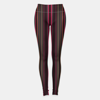 Miniatur Multi-colored striped pattern magenta black brown lined patches Leggings, Live Heroes