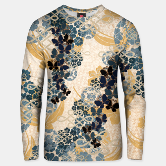 Thumbnail image of Japanese traditional family crest art. Blue Butterfly Unisex sweater, Live Heroes