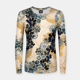 Thumbnail image of Japanese traditional family crest art. Blue Butterfly Women sweater, Live Heroes
